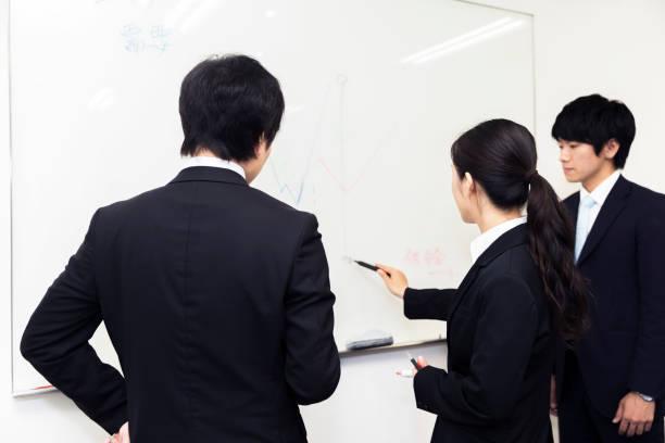 ホワイトボードの前で話し合う学生